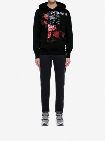 ALEXANDER MCQUEEN Sweat-shirt à capuche Skull et Rose effet patchwork Sweat-shirt Homme r