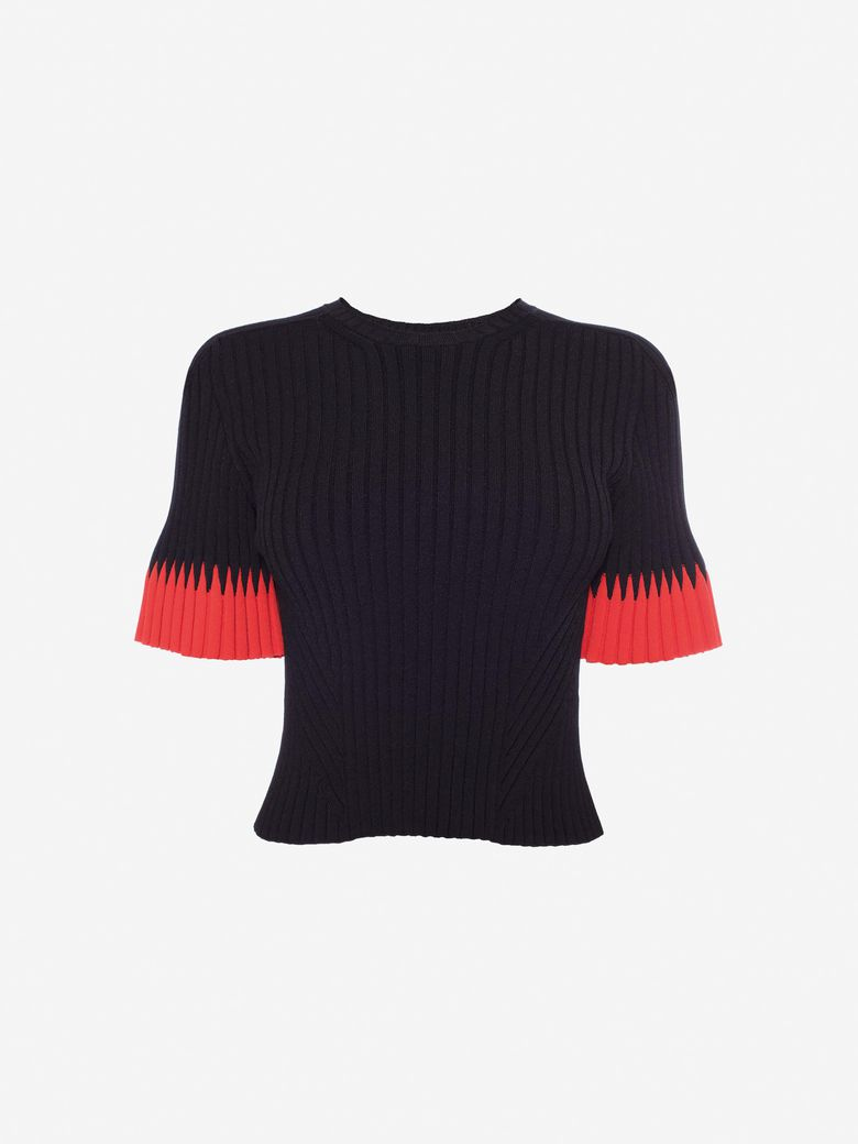 Two-Tone Ribbed Stretch-Knit Top, Black/Red