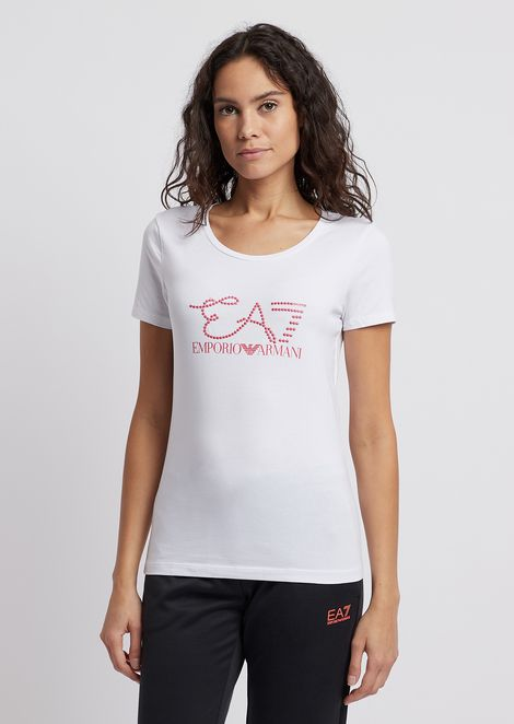 f44a400a777e Stretch jersey T-shirt with logo decorated with studs | Woman | Ea7