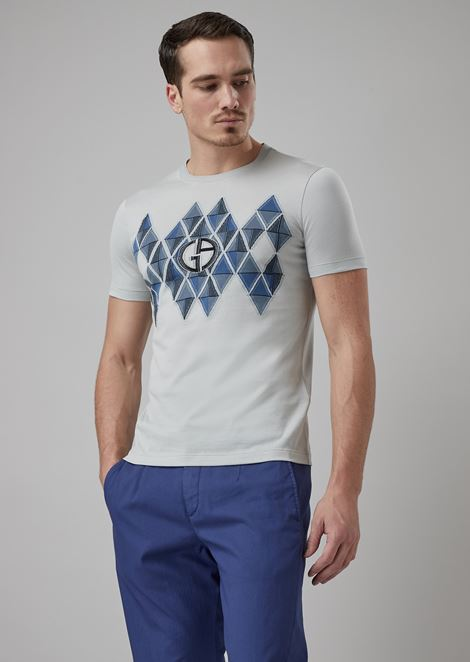 49d2b23b50ee T-shirt with geometric motif and fil coupé logo