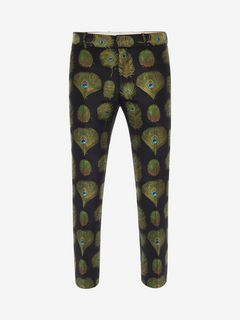 ALEXANDER MCQUEEN Tailored Pant U Peacock Feather Jacquard Pants f