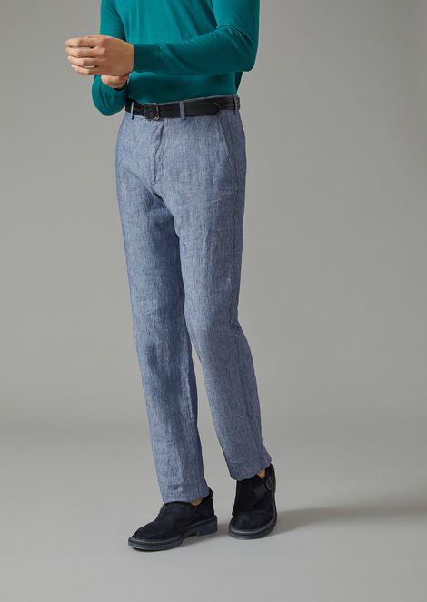 Trousers In Washed Natté for Men | Giorgio Armani | Tuggl