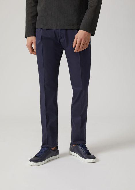 Stretch Poplin Trousers for Men | Emporio Armani | Tuggl