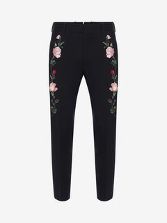 ALEXANDER MCQUEEN Tailored Pant Man Rose Embroidered Tuxedo Pants f