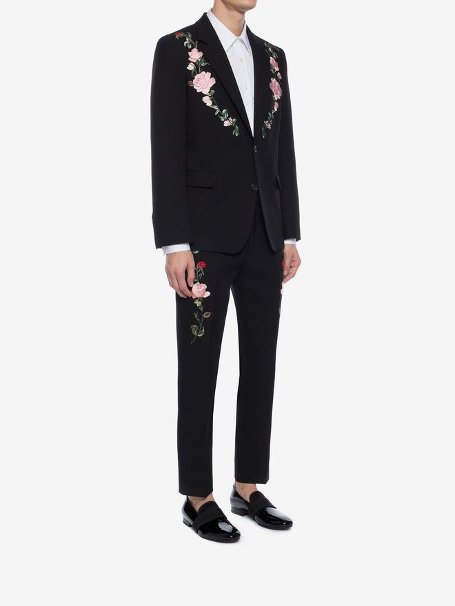 ALEXANDER MCQUEEN Rose Embroidered Tuxedo Pants Tailored Pant Man d