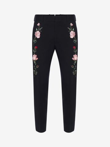 ALEXANDER MCQUEEN Rose Embroidered Tuxedo Pants Tailored Pant Man f