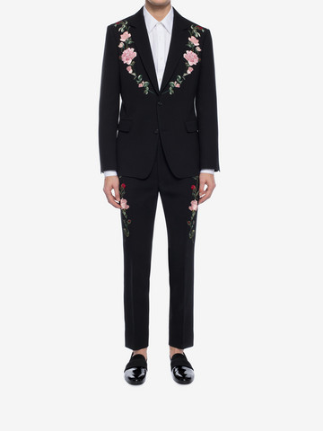 ALEXANDER MCQUEEN Rose Embroidered Tuxedo Pants Tailored Pant Man r