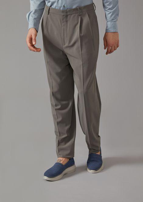 Soft Canvas Trousers With Darts for Men | Giorgio Armani | Tuggl