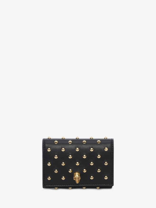 ALEXANDER MCQUEEN Nappa Leather Studded Fold Over Card Wallet Card Holder D f