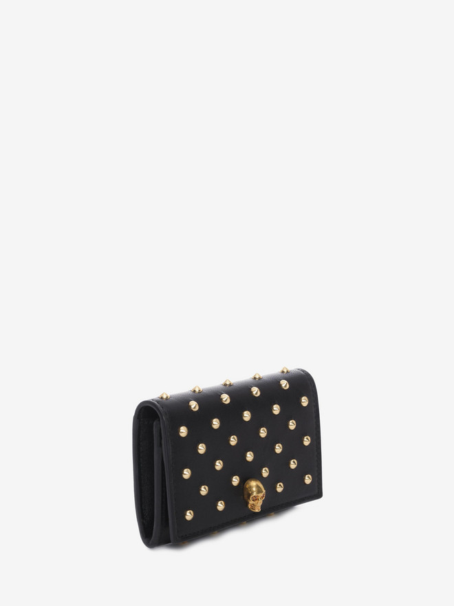 ALEXANDER MCQUEEN Nappa Leather Studded Fold Over Card Wallet Card Holder D r