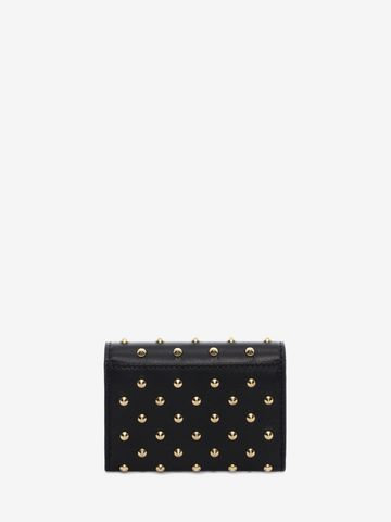 ALEXANDER MCQUEEN Nappa Leather Studded Fold Over Card Wallet Card Holder D d