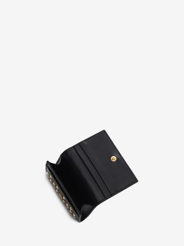 ALEXANDER MCQUEEN Nappa Leather Studded Fold Over Card Wallet Card Holder D e