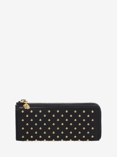 Black Nappa Leather Studded Continental Wallet