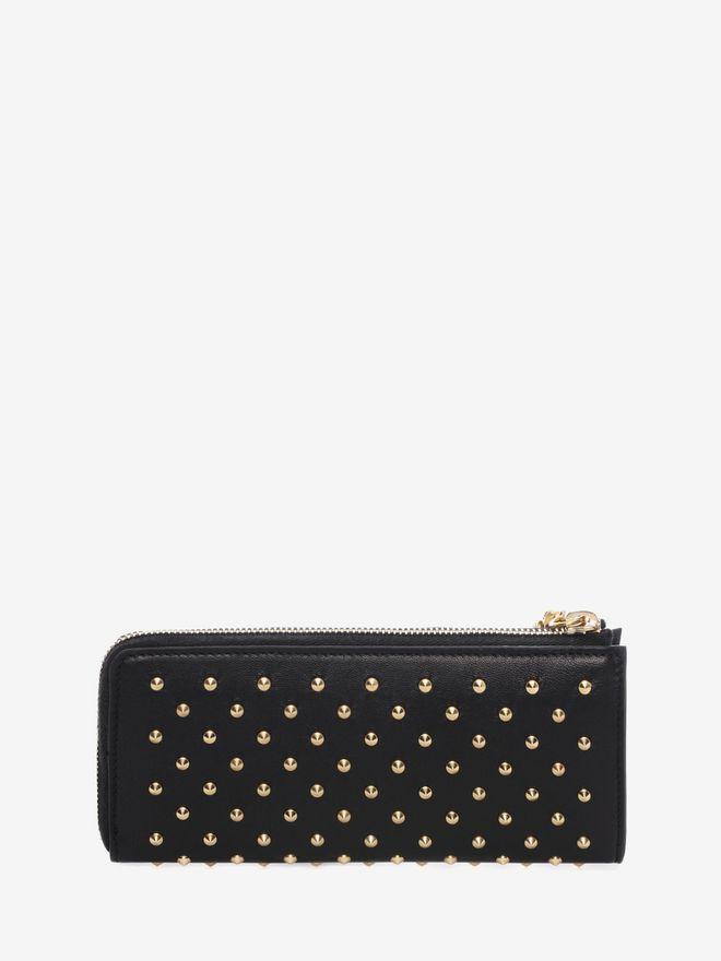 ALEXANDER MCQUEEN Black Nappa Leather Studded Continental Wallet Zip Wallet D d
