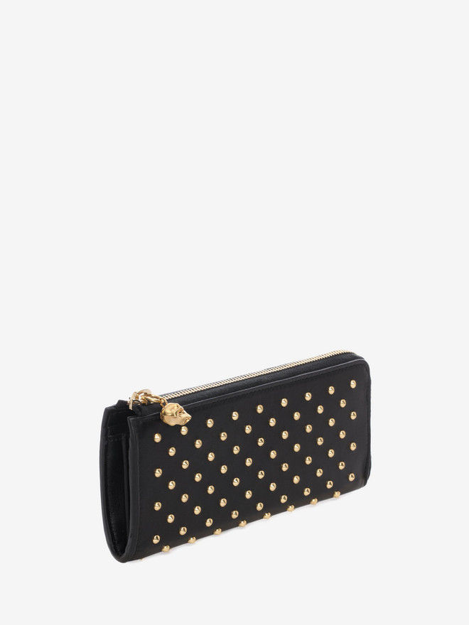 ALEXANDER MCQUEEN Black Nappa Leather Studded Continental Wallet Zip Wallet D r