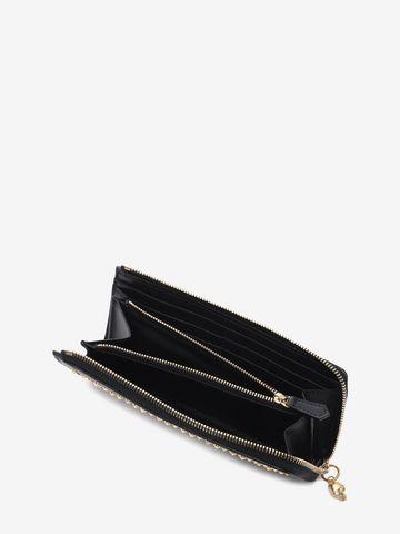ALEXANDER MCQUEEN Black Nappa Leather Studded Continental Wallet Zip Wallet D e