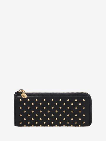 ALEXANDER MCQUEEN Black Nappa Leather Studded Continental Wallet Zip Wallet D f