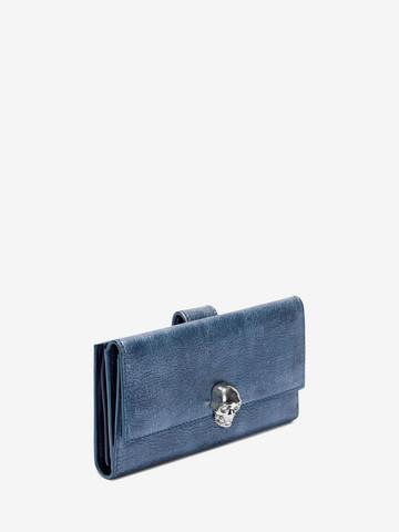 ALEXANDER MCQUEEN Denim Continental Wallet Wallet Woman r
