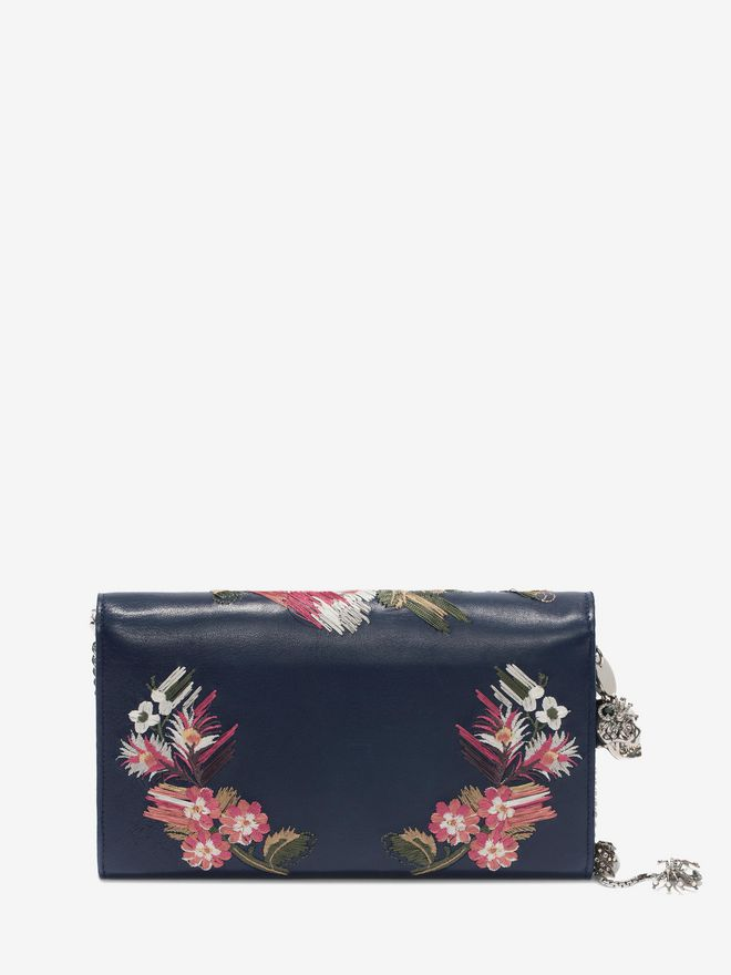 ALEXANDER MCQUEEN Floral Embroidery Nappa Wallet with Chain Envelope Chain Wallet D d