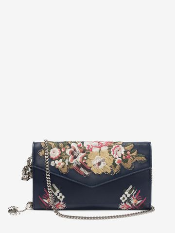 ALEXANDER MCQUEEN Floral Embroidery Nappa Wallet with Chain Envelope Chain Wallet D f