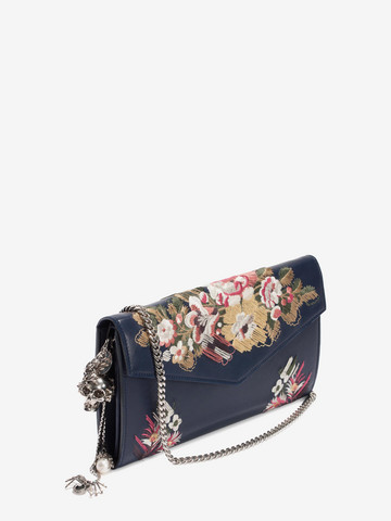 ALEXANDER MCQUEEN Floral Embroidery Nappa Wallet with Chain Envelope Chain Wallet D r
