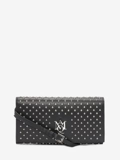 All over studded nappa Insignia pouch with strap