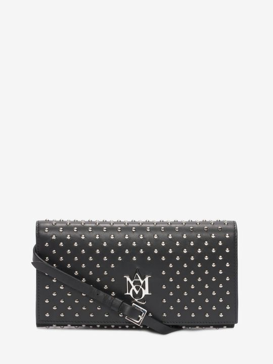 ALEXANDER MCQUEEN AMQ Logo Wallet Woman All over studded nappa Insignia pouch with strap   f