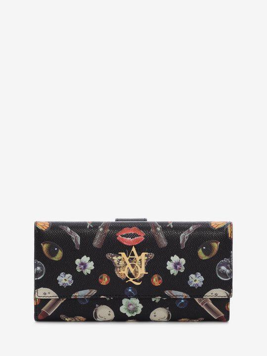 ALEXANDER MCQUEEN AMQ Logo Wallet Woman Obsession Print Insignia Continental Wallet  f