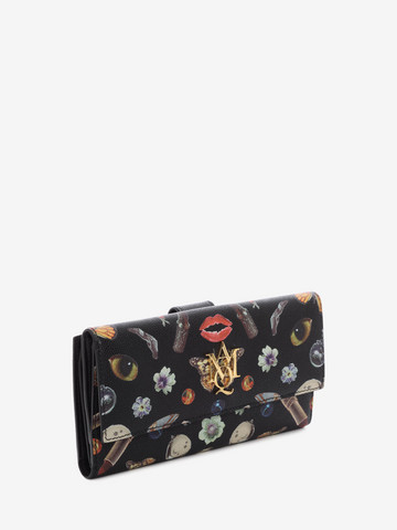 ALEXANDER MCQUEEN Obsession Print Insignia Continental Wallet  AMQ Logo Wallet D r