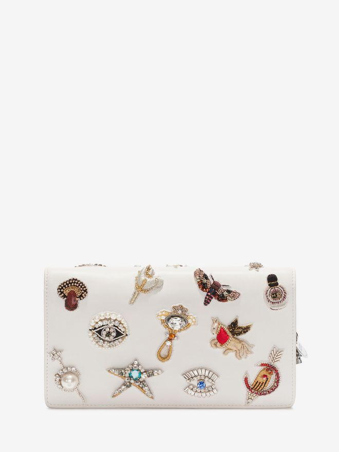 ALEXANDER MCQUEEN Obsession Charm Embroidered Insignia Chain Pouch Wallet with chain D d