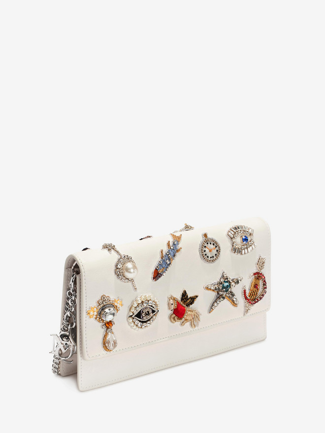 ALEXANDER MCQUEEN Obsession Charm Embroidered Insignia Chain Pouch Wallet with chain D r