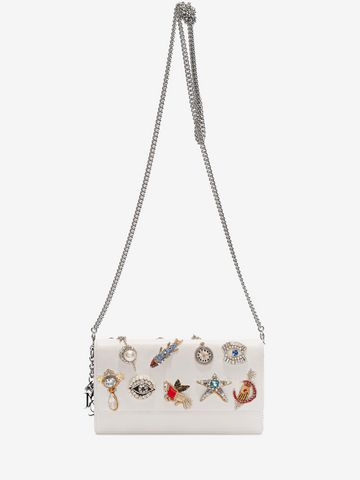 ALEXANDER MCQUEEN Obsession Charm Embroidered Insignia Chain Pouch Wallet with chain D a