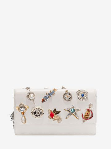 ALEXANDER MCQUEEN Obsession Charm Embroidered Insignia Chain Pouch Wallet with chain D f