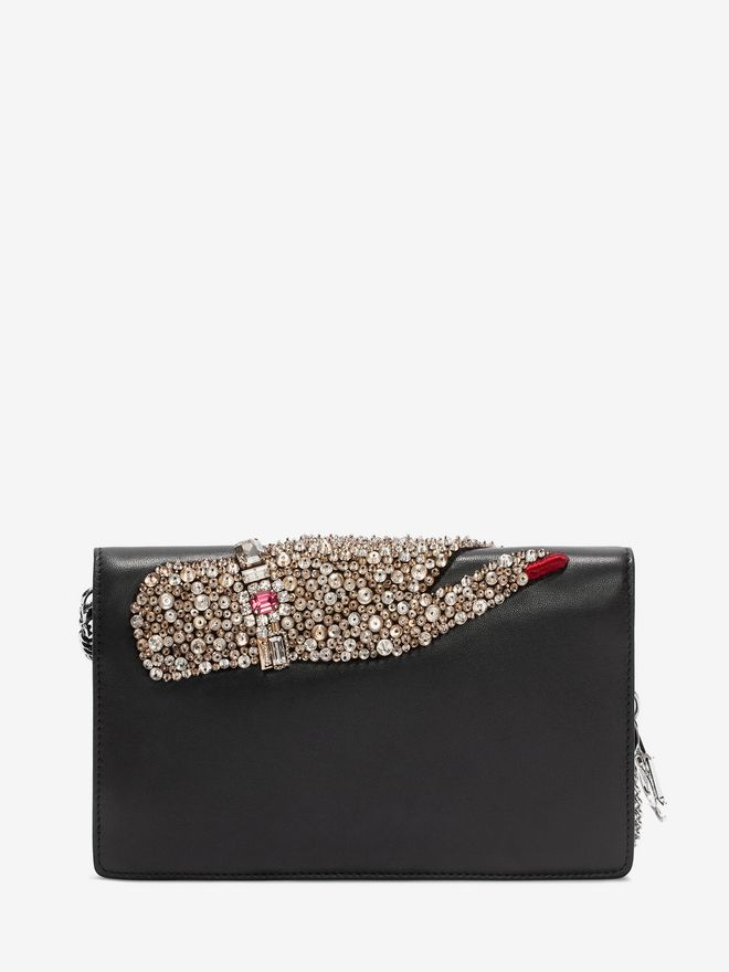 ALEXANDER MCQUEEN Jeweled hand Insignia Chain Pouch Wallet with chain D d