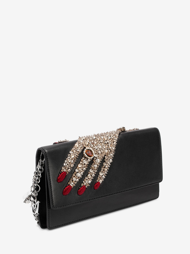 ALEXANDER MCQUEEN Jeweled hand Insignia Chain Pouch Wallet with chain D r