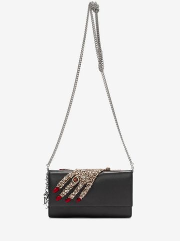 ALEXANDER MCQUEEN Jeweled hand Insignia Chain Pouch Wallet with chain D a