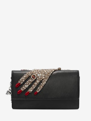 ALEXANDER MCQUEEN Jeweled hand Insignia Chain Pouch Wallet with chain D f