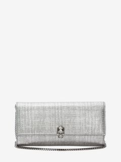 ALEXANDER MCQUEEN Wallet with chain D Continental Skull Leather Wallet f