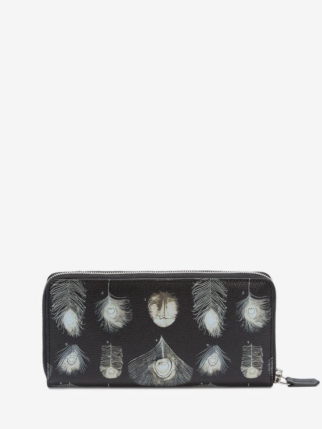 ALEXANDER MCQUEEN Feathers Long Zip Wallet Wallet Man d