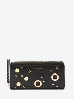Eyelet and Stud Zip-Around Wallet