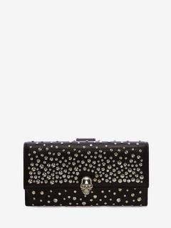 ALEXANDER MCQUEEN CONTINENTAL WALLET Woman Continental Skull Leather Wallet f