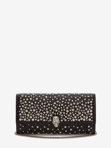 Alexander McQueen Skull leather wallet clutch