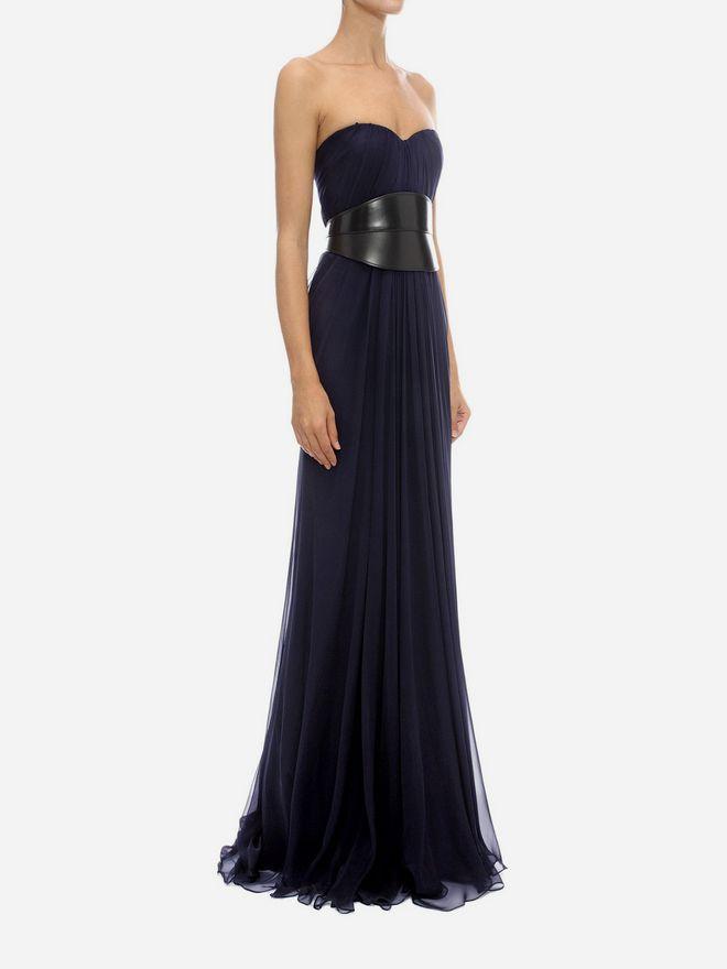 ALEXANDER MCQUEEN Draped Bustier Long Dress Long Dress Woman d