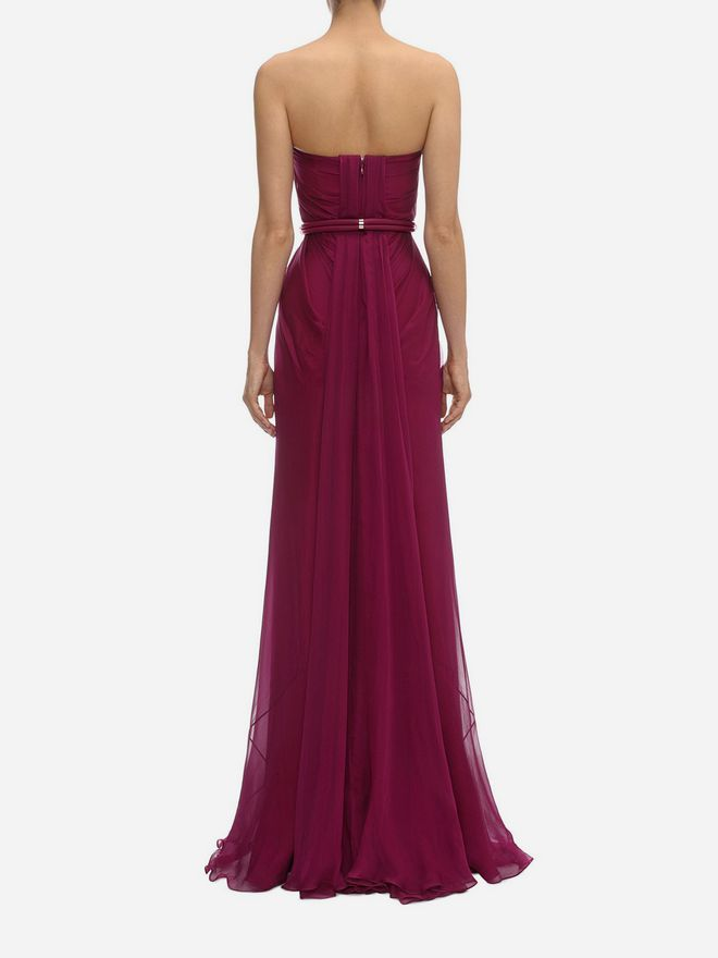 ALEXANDER MCQUEEN Draped Bustier Gown Long Dress D e