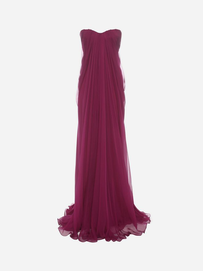 ALEXANDER MCQUEEN Draped Bustier Gown Long Dress D f