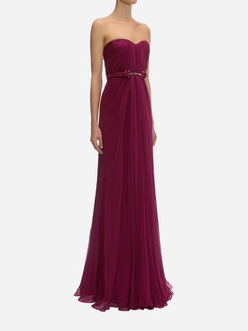 ALEXANDER MCQUEEN Draped Bustier Gown Long Dress D d