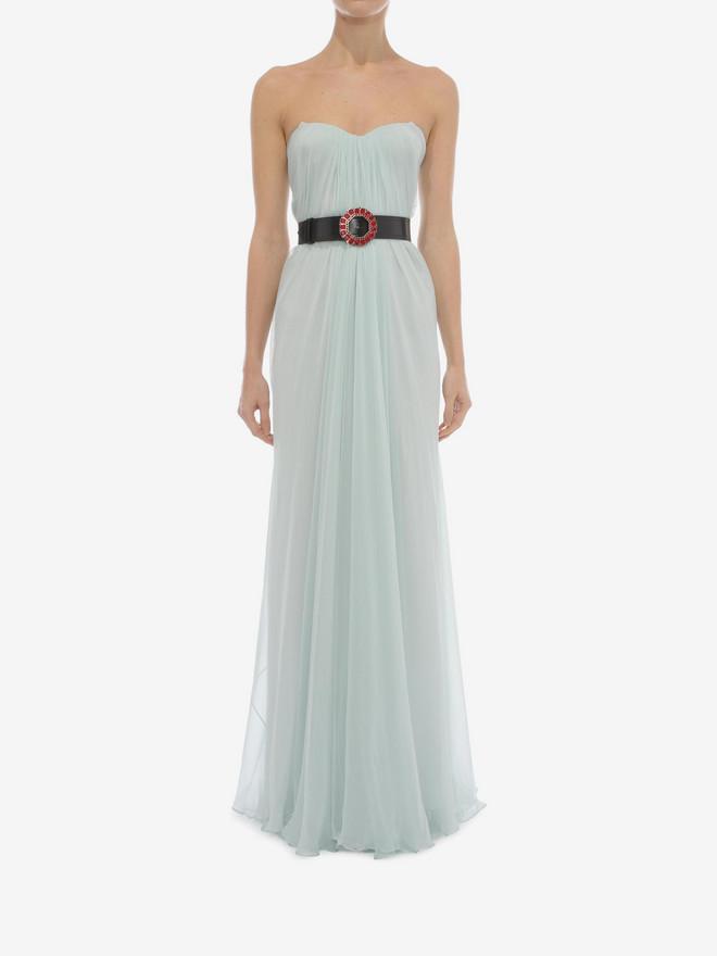 ALEXANDER MCQUEEN Draped Bustier Dress Long Dress D r