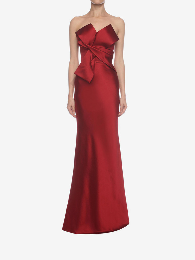 ALEXANDER MCQUEEN Long Bow Bustier Dress Long Dress D r