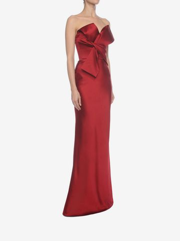 ALEXANDER MCQUEEN Long Bow Bustier Dress Long Dress D d
