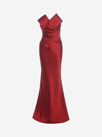 ALEXANDER MCQUEEN Long Bow Bustier Dress Long Dress D f